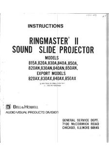 Bell and Howell RingMaster Printed Manual