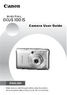 canon digital ixus 100 is camera manuals. Black Bedroom Furniture Sets. Home Design Ideas