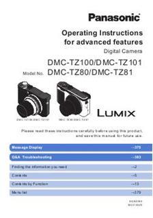 Panasonic Lumix TZ80 Printed Manual