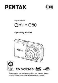 pentax optio e80 manual pdf