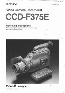 Sony Ccd F 375 E Printed Manual