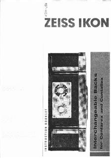 Zeiss Ikon Contaflex Accessories Printed Manual